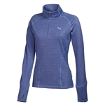 Puma Women's Heathered 1/4 Zip Popover- Bleached Denim