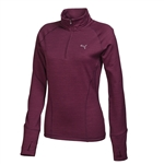 Puma Women's Heathered 1/4 Zip Popover- Italian Plum