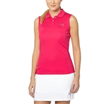 Puma Pounce Sleeveless Golf Polo - Rose Red