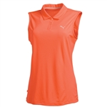 Puma Pounce Sleeveless Golf Polo - Fluro Peach