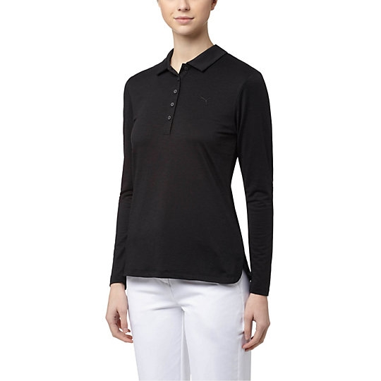 Puma Long Sleeve Golf Polo - Black