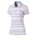 Puma Road Map Stripe Golf Polo -Rose Red