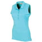 Sunice Kadee Jacquard Coollite Sleeveless Polo - Blue Water