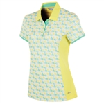 Sunice Abigail Coollite Short Sleeve Polo - Mellow Yellow Pinwheel