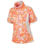 Sunice Golf Brittany Short Sleeve Wind Jacket Oyster/Neon Pink