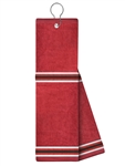 Just4Golf Golf Towel Red/Black Stripe