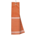 Just4Golf Orange Stripe Waffle Towel