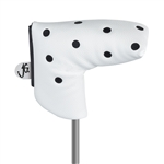 Just4Golf Blade Putter Headcover - White/Black Dot