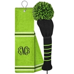 Just4Golf Golf Towel & Headcover Set Lime/Black