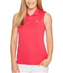 Puma Pounce Sleeveless Golf Polo - Bright Rose