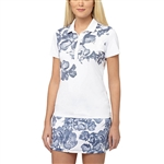 Puma Bloom Short Sleeve Golf Polo - White/Peacoat