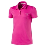 Puma Youth Girls Pounce Short Sleeve Golf Polo - Shocking Pink