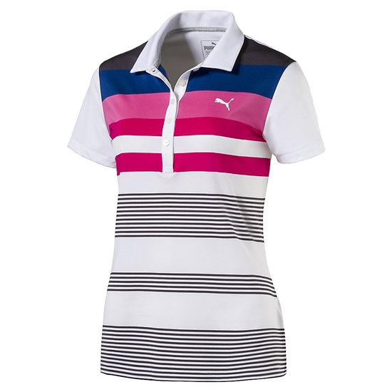 Puma Road Map Stripe Golf Polo - Shocking Pink