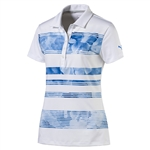 Puma Bloom Stripe Short Sleeve Golf Polo - True Blue