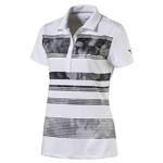 Puma Bloom Stripe Short Sleeve Golf Polo - Puma Black