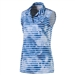 Puma Bloom Stripe Sleeveless Golf Polo - True Blue