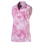 Puma Bloom Stripe Sleeveless Golf Polo - Shocking Pink