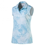Puma Bloom Stripe Sleeveless Golf Polo - Blue Atoll