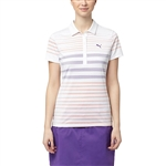 Puma Dot Stripe Polo - Golden Poppy