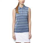 Puma Pounce Stripe Sleeveless Golf Polo - True Blue