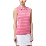 Puma Pounce Stripe Sleeveless Golf Polo - Shocking Pink