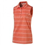 Puma Pounce Stripe Sleeveless Golf Polo - Golden Poppy