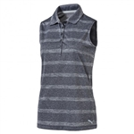 Puma Pounce Stripe Sleeveless Golf Polo - Peacoat