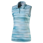 Puma Junior Girls Uncamo Sleeveless Golf Polo - Blue Atoll