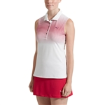 Puma Road Map Sleeveless Golf Polo - Bright White/Dark Purple