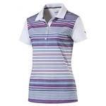 Puma Road Map Stripe Golf Polo - Bright White/ Bright Plasma