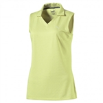 Puma Jacquard Sleeveless Golf Polo - Sunny Lime