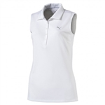 Puma Pounce Sleeveless Golf Polo - White