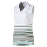 Puma Road Map Sleeveless Golf Polo - Bright White/Aquarius