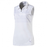 Puma Sleeveless Sport Golf Polo - Bright White/Purple Rose