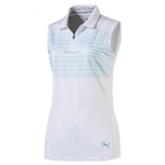 Puma Sleeveless Sport Golf Polo - Bright White/Aquarius