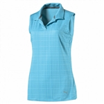 PUMA Sleeveless Soft Plaid Golf Polo - Aquarius
