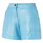 "Puma 5"" Soft Plaid Shorter Golf Short - Aquarius"
