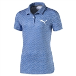 Puma Youth Girls Polka Dot Golf Polo - Nebulas Blue