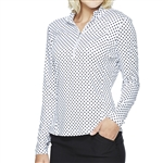 GG Blue Ellen Long Sleeve Mock - Black Dot