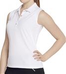GG Blue Leah Sleeveless Golf Polo - White