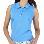 GG Blue Leah Sleeveless Golf Polo - Caribbean