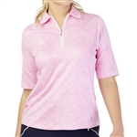 GG Blue Jane Short Sleeve Golf Polo - Cerise Dot