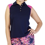 GG Blue Dessa Sleeveless Golf Polo - Navy