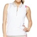 GG Blue April Sleeveless Golf Polo - White/Khaki Dot