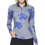 GG Blue Ivan Long Sleeve Golf Top - Vibrant/Black