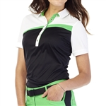GG Blue Kesha Short Sleeve Golf Polo - Black/White