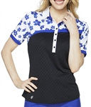 GG Blue Kesha Short Sleeve Golf Polo - Black/Clarity