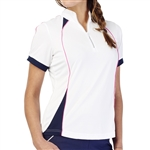 GG Blue Junie Short Sleeve Golf Polo - White/Navy