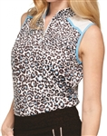 GG Blue Serena Sleeveless Cheetah/Sparkle Golf Polo