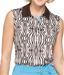 GG Blue Grace Sleeveless Zebra Golf Polo